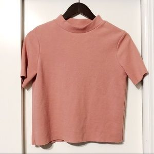 Coral Pink Mauve Structured Mock Neck Top